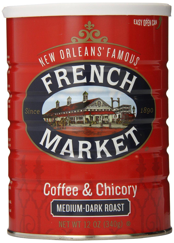 FRENCH MARKET Coffee & Chicory, Medium-Dark Roast, 12 Ounce Can