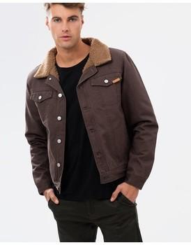 c2406969d024 Sherpa Fur Lining Button Up Men's Tan Brown Denim Jacket Winter / Custom  Winter Denim Jacket