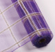 Purple PP mesh ribbon with sparkling metallic fluff and white raffia