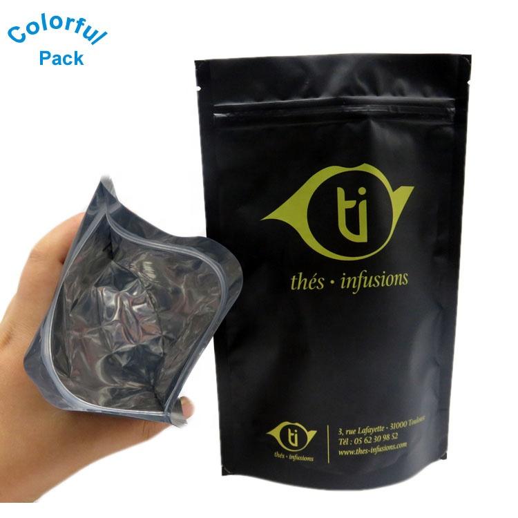 شعار مخصص أغلفة فويل ألومنيوم مطبوعة أكياس بلاستيكية متعددة الأسود زيبلوك حقيبة بسحاب قفل