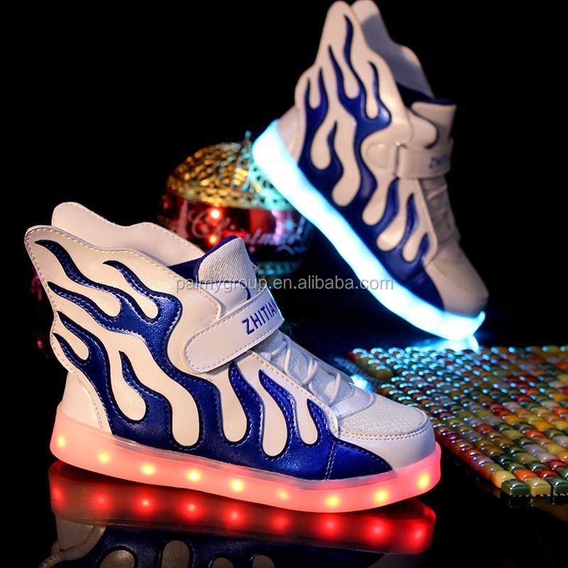 2017 Beautiful kids shoes LED lighting shoes sneakers with USB charging 7 colors luminous shoes for kids