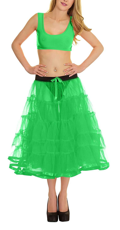 Rimi Hanger Womens 4 Tier Petticoat with Ribbon Tutu Skirt Ladies Dance Wear Fancy Skirt One Size
