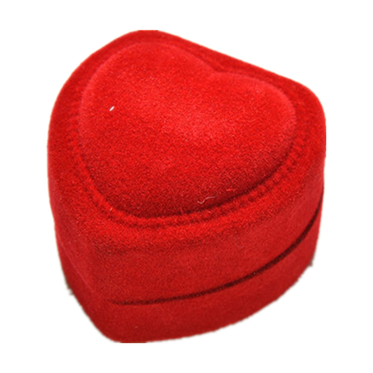 Custom heart shaped velvet single wedding ring boxes & flannelette fabric finger ring cases