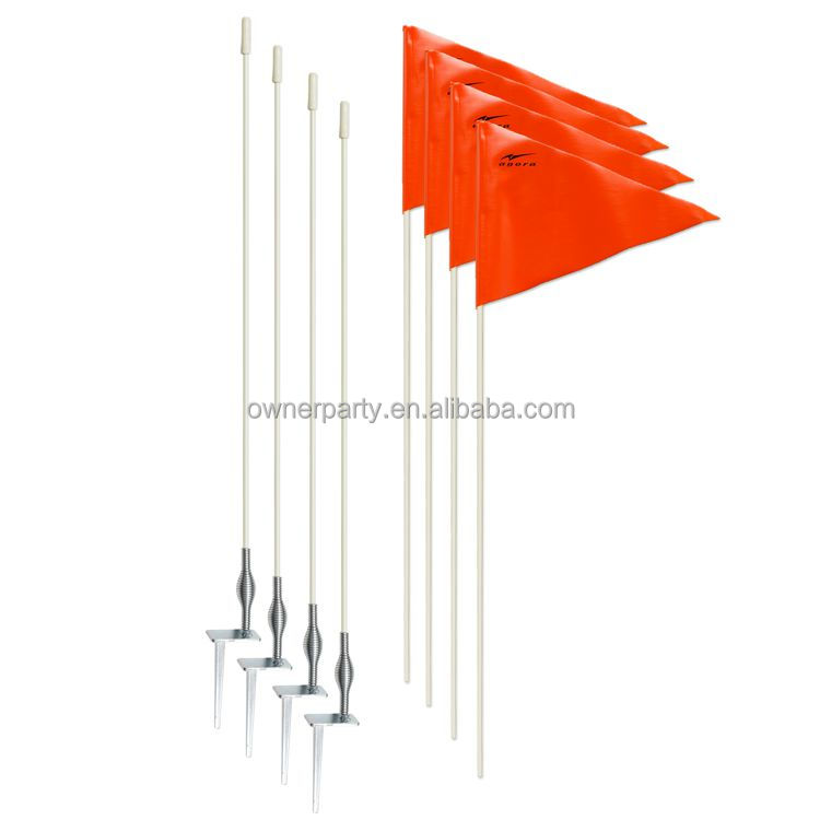 "Soccer Corner Flag Posts w Red Flag (60"" Inch Set of 4) for Any Sports Drill, Practice, or Game"