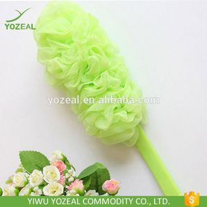 Fashion Style Pe Mesh Bath Shower Net Sponge With Plastic Handle