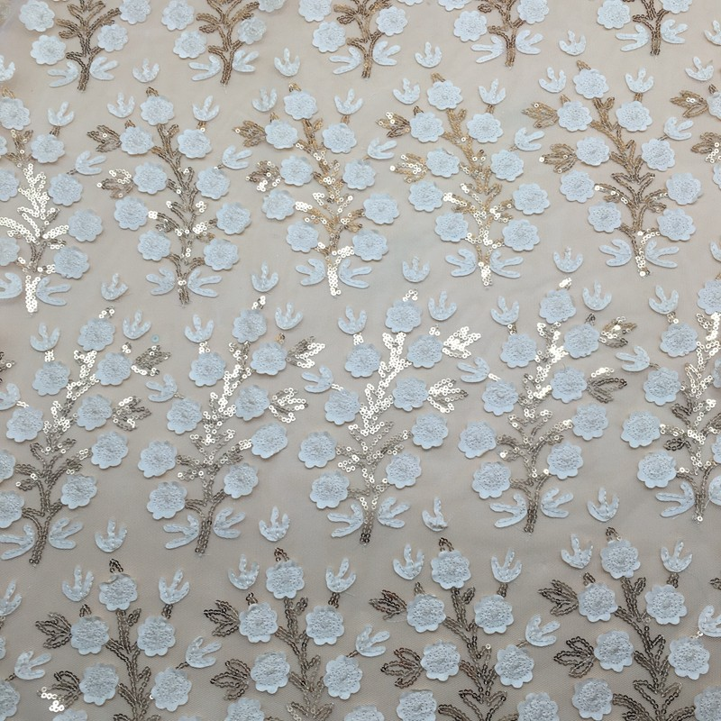 new pattern 3d guipure flower tulle embroidery fabrics beads sequin heavy hand pearls beaded french tulle lace fabric