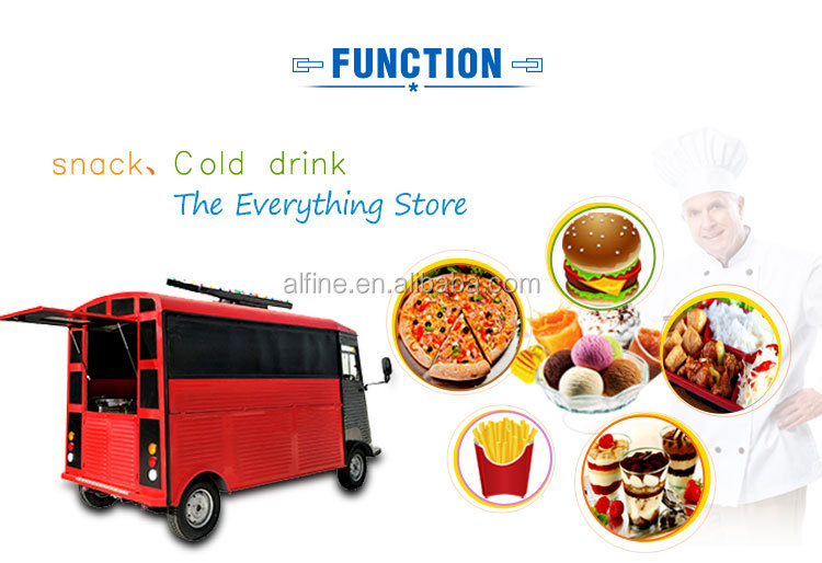 factory supply  4 wheels mobile fast food cart electric food truck