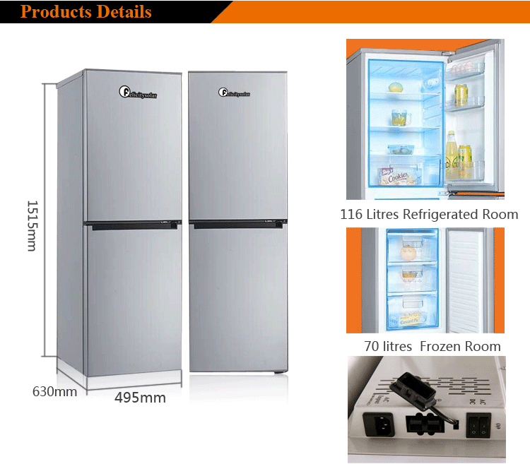 186L Solar DC compressor upright fridge home solar power system with ISO90