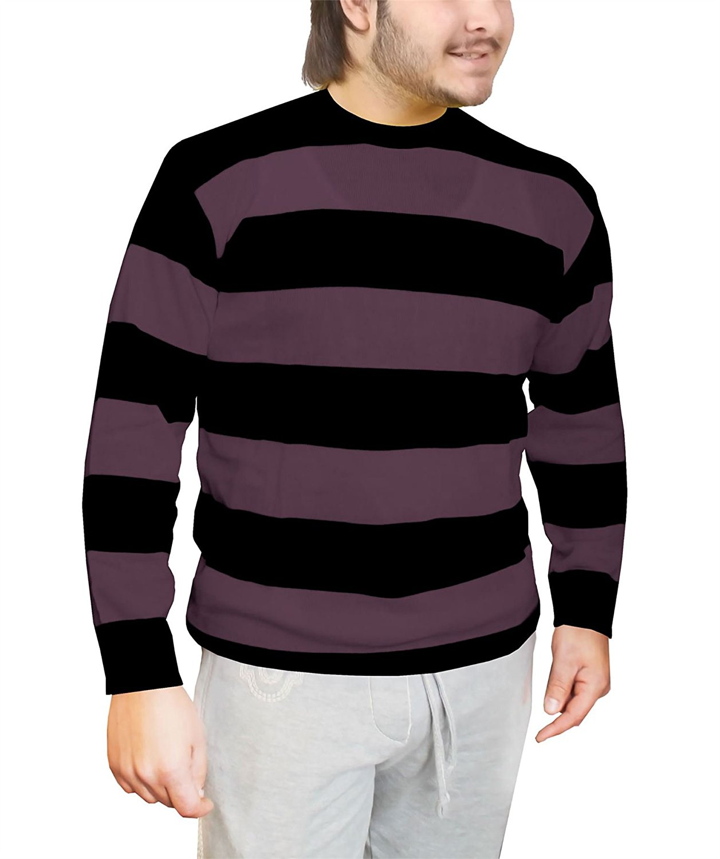 Rimi Hanger Mens Black & Purple Striped Knitted Jumper Adults Halloween Fancy Dress Sweater Small-Large