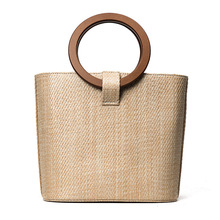 Hot sale women summer natural raffia straw bag straw travel shopping top handle and zipper pocket beach tote bag