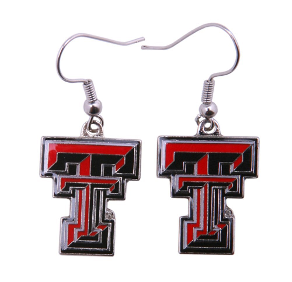 """Licensed NCAA (TT) Texas Tech Red Raiders Team Logo And Colors 1"""" Drop Dangling Earrings (Gift Box Included)"""
