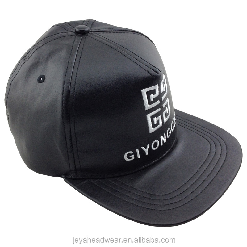 Black leather 5 panel letters embroidered snapback hat back snakeskin leather strap snapback hat