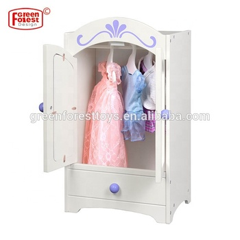 Doll Clothes And Accessory Storage Mirrored Wardrobe Fits 18