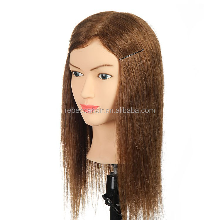 Rebecca high quality female training mannequin head with 100% Indian hair for haircut training