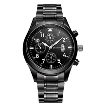 OUKESHI full stainless steel watch mens luxury analog quartz movt wrist watch black with Calendar