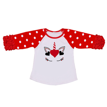latest ruffle kids girl top unicorn print clothes children kid clothing baby girl tops