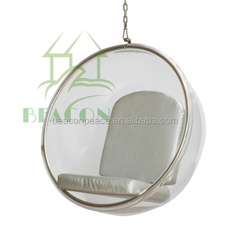 Indoor Hanging Acrylic Ball Swiveling Bubble Chair With Stainless Steel  Chain