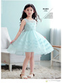 2016 New autumn winter 2 12T flower girl princess dresses blue cotton lace sleeveless O neck