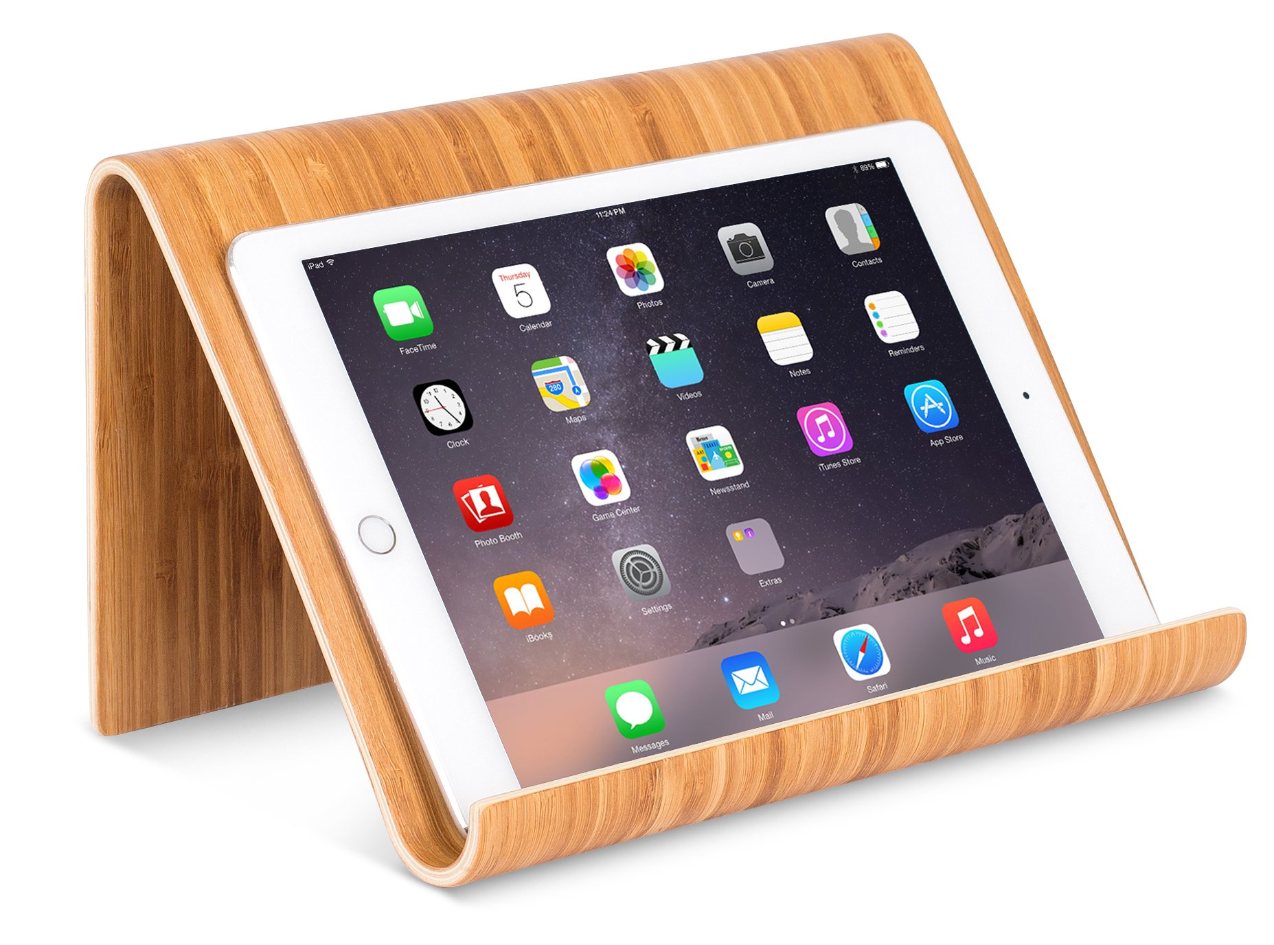 Sofia + Sam Bamboo Tablet Holder and Stand | Natural Wood | Works with iPad, Surface etc. | Cookbook Book E-readers Smartphones | Kitchen Table Top | Wire Organizer