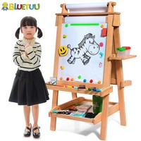 Discovery kids wooden art painting tabletop easel with dry erase chalk board