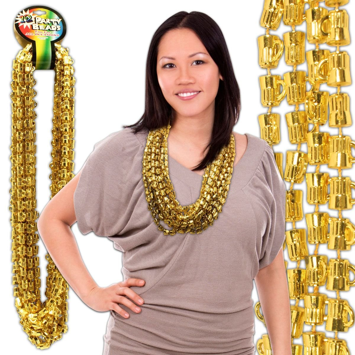 "Gold Bead Beer Mug Necklaces - 33"" - 12 Pack"