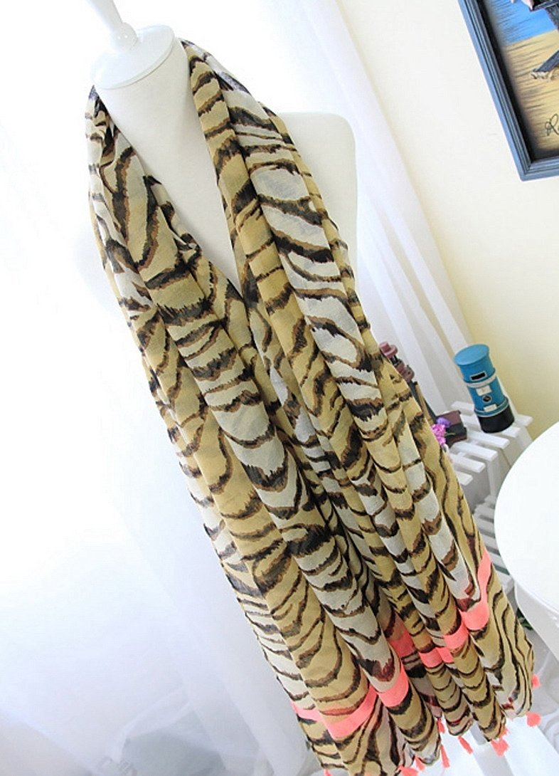 4abc3a35f00b5e Get Quotations · Avitalk Women's European Style Tiger Strip Printing Long  Soft Fringed Scarf Wrap - Tiger Stripes