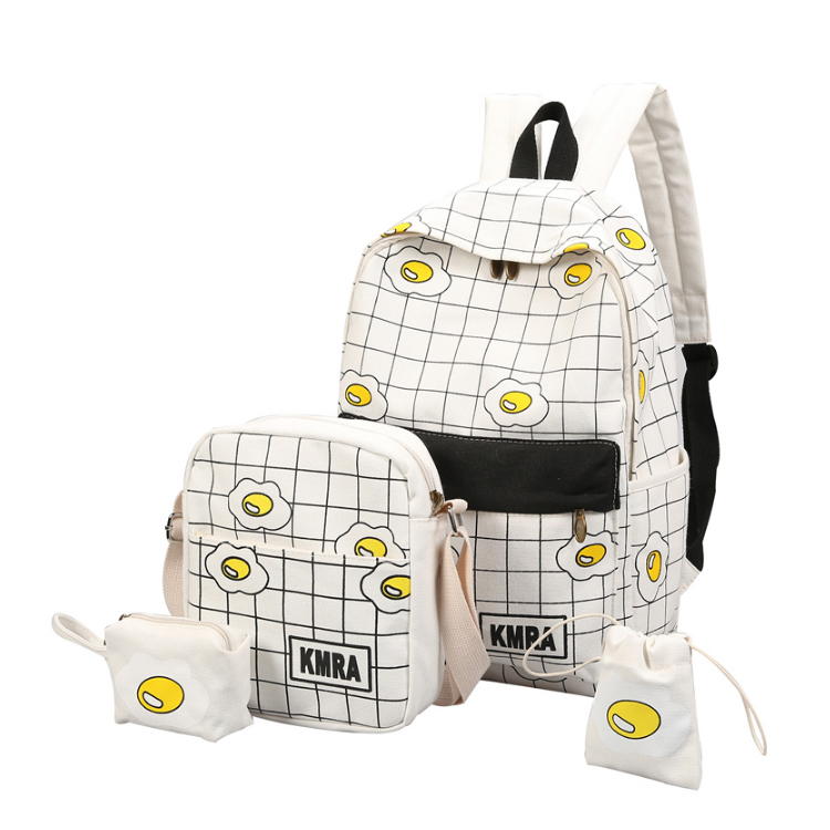 Wholesale fashion girls egg design backpack 4 pcs set school bags from China suppliers