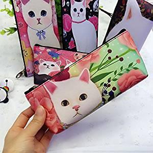 Katoot@ Cute stationery Cat school pencil case for girls Kawaii PU leather waterproof pencil bag pen pouch school office supply escolar