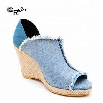 Paja De Sandalias Zapatos Mujer Las Elegante Señoras Buy Peep Cuña Cubiertos Con Denim Tacón Toe 0v8Nnmw