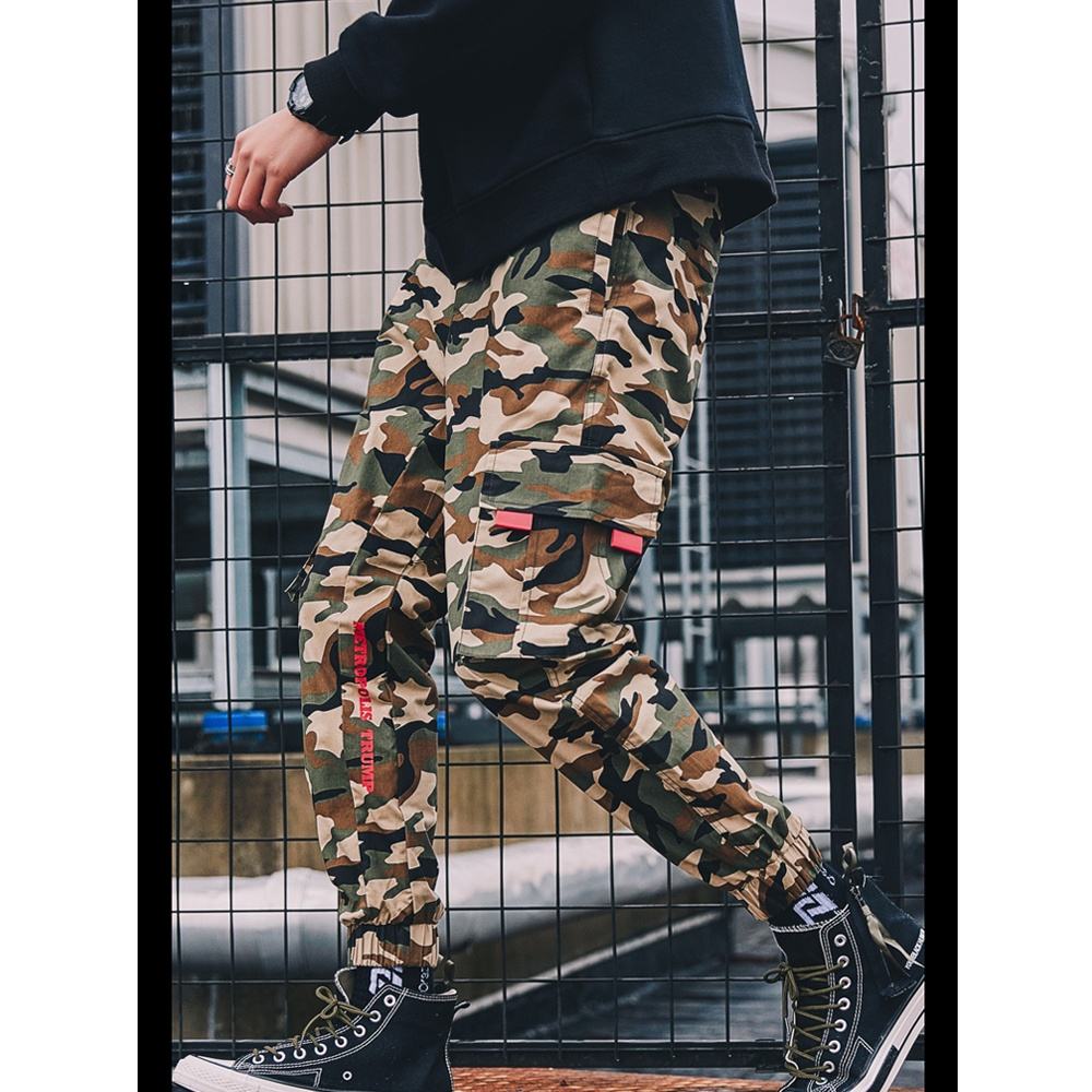 Mode Hip Hop Streetwear 6 Pocket Camouflage Cargo Broek Heren