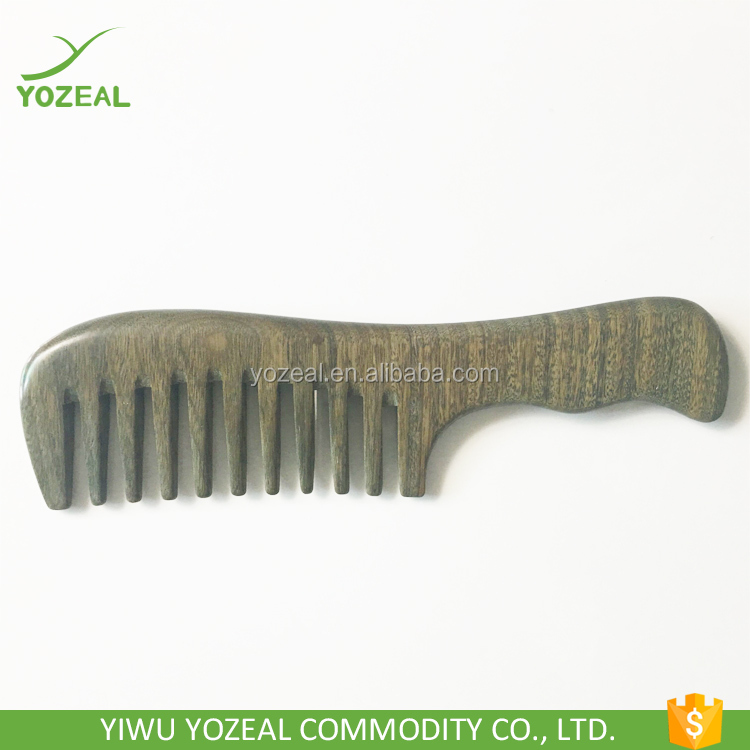 100% pure natural green sandalwood wooden hair brush comb