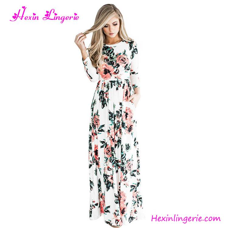 Vestido en flores largo