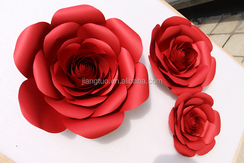 Giant paper red rose flowers