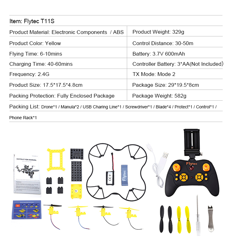 8. T11S_Yellow_WIFI_FPV_DIY_Building_Blocks_Drone_with_0.3MP_Camera_RC_Drone