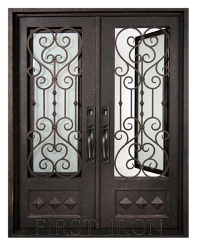 Flat Top Wrought Iron Double Entry Doors Forged Front