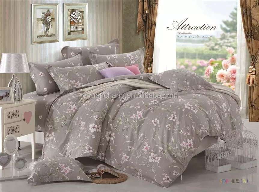 luxury wedding home cotton printed duvet bedding set