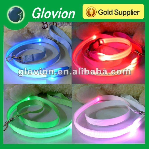Hot pet product Bright-coloured LED dog collar and leads Vivid color dog leashes Fresh flashing glowing light up dog leash