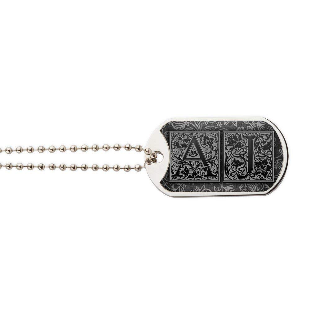 CafePress - AJ Initials. Vintage, Floral - Military Style Dog Tag, Stainless Steel with Chain