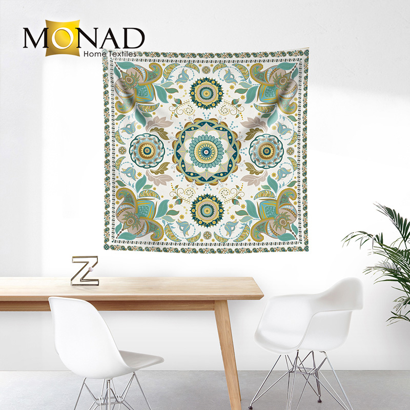 Monad attractive rectangle mandala wholesale indian white tapestry fabric