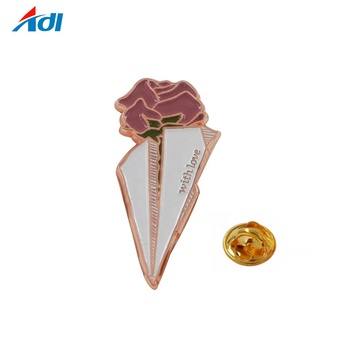 No Minimum Order Design Copper Rose lapel pin Badge For Promotion Gift