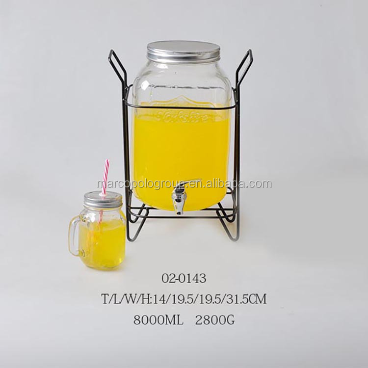 8L glass dispenser with tap