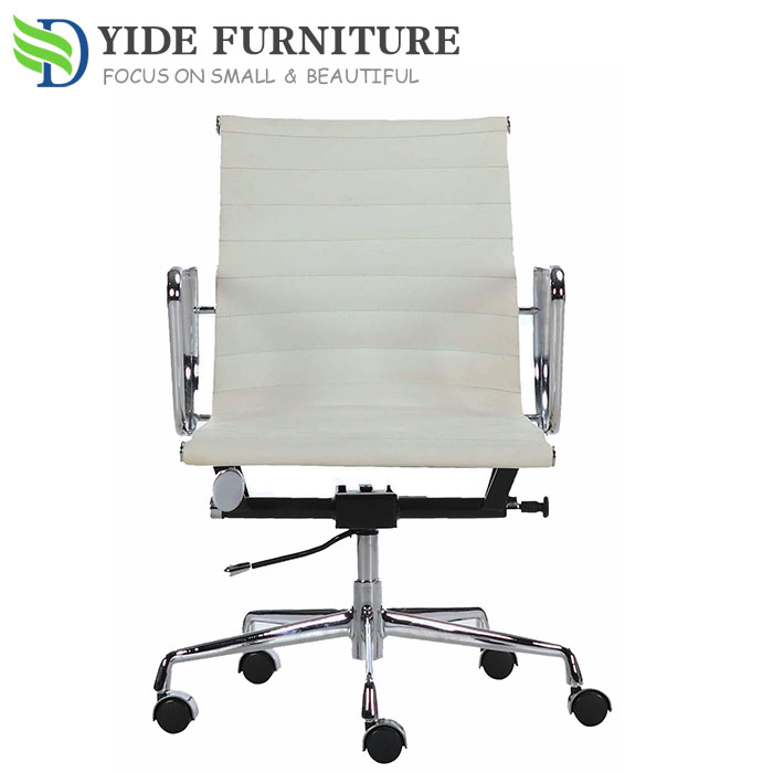 classic white leather ergonomic swivel office chair no wheels