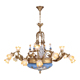 Fascinating coloured 16 arms brass ceramic glass flower chandelier