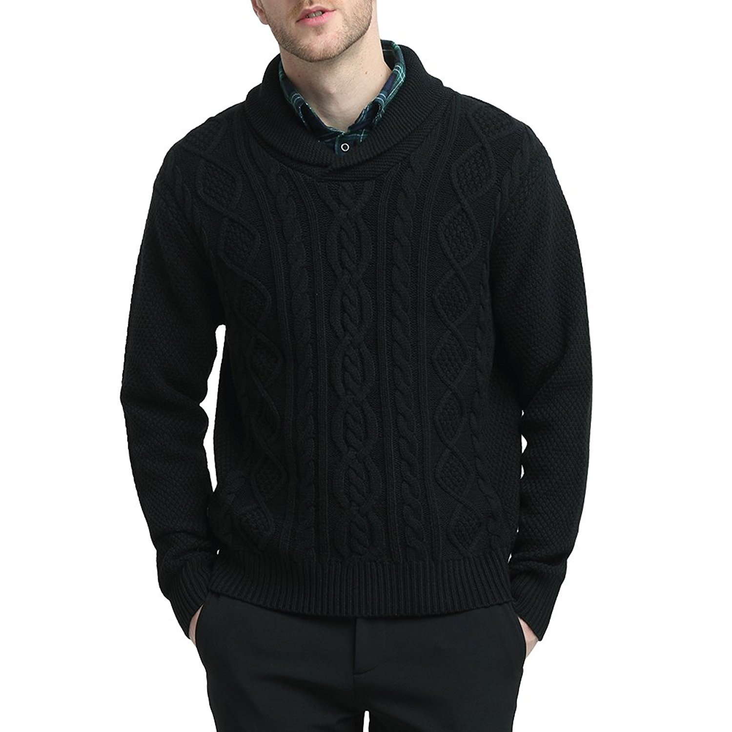 Kallspin Mens Relaxed Fit Solid Shawl Collar Sweater Pullover Cable Fisherman