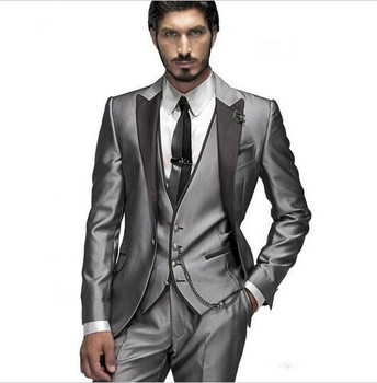 Suit Men Latest Design Formal Wearing Customized Groom Wedding Tuxedos 3 Pieces Jacket Pants