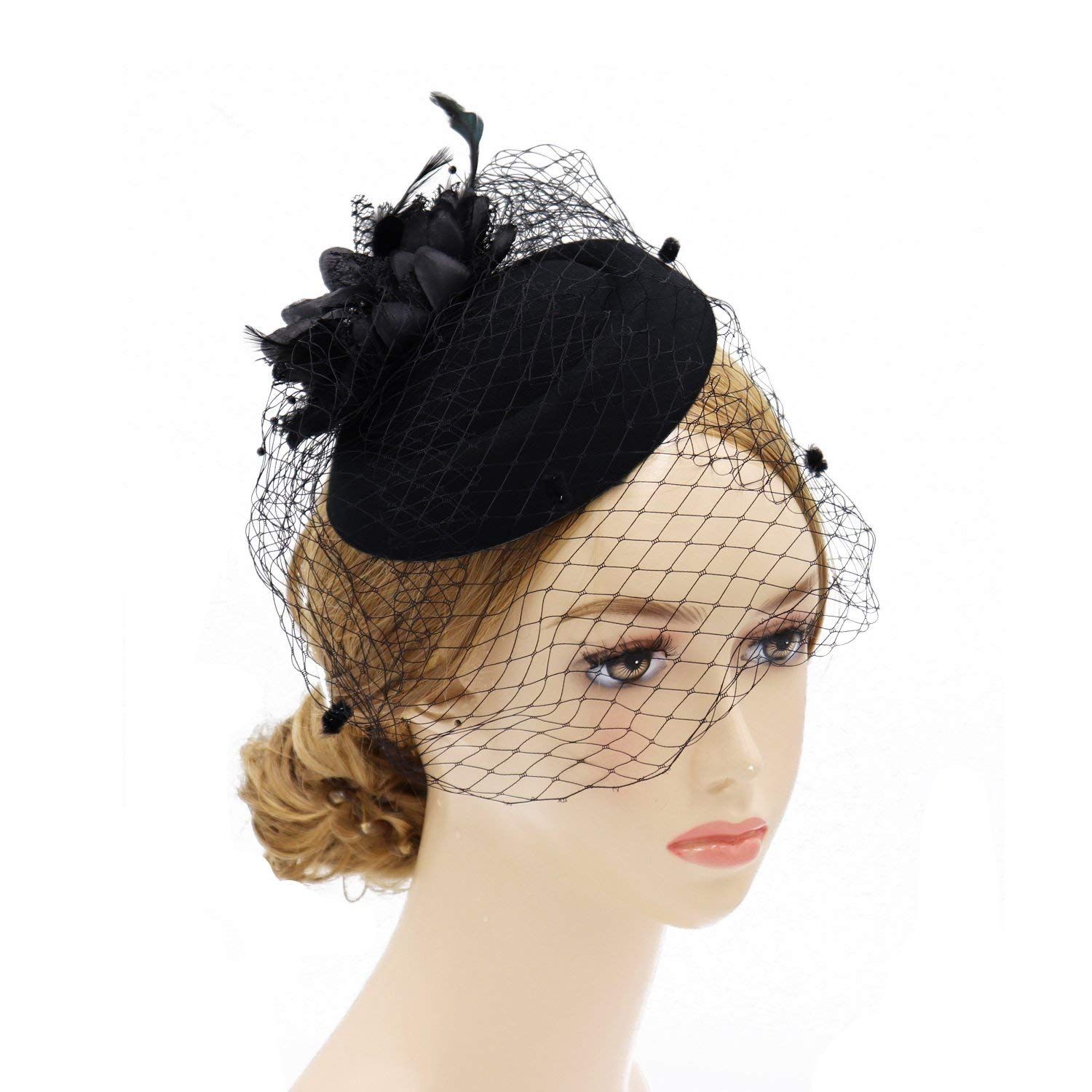 274bee46 Get Quotations · Wheebo Fascinator Hat Flower Feather Mesh Veil Wedding Tea  Party Derby Cocktail Hat Headwear for Women