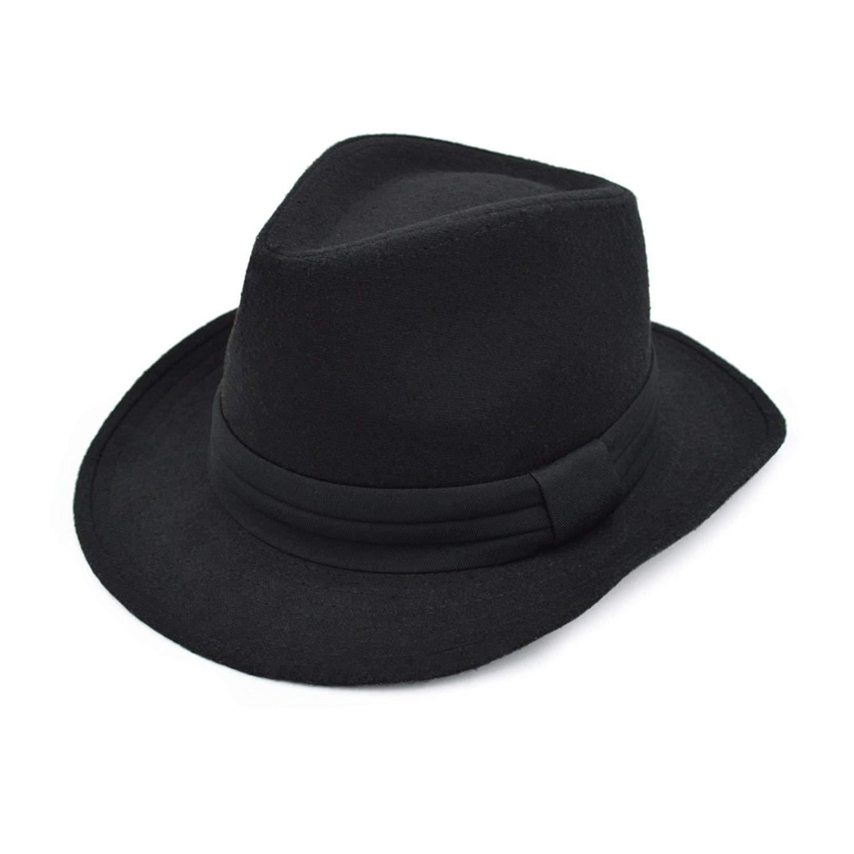 332831c1abb Get Quotations · Unisex Classic Solid Color Wide Brim Felt Fedora Hat w   Black Band - Diff Colors