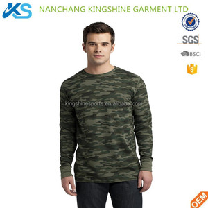 Custom soft 100% cotton full sublimation camo long sleeve crew neck single jersey mens t-shirt