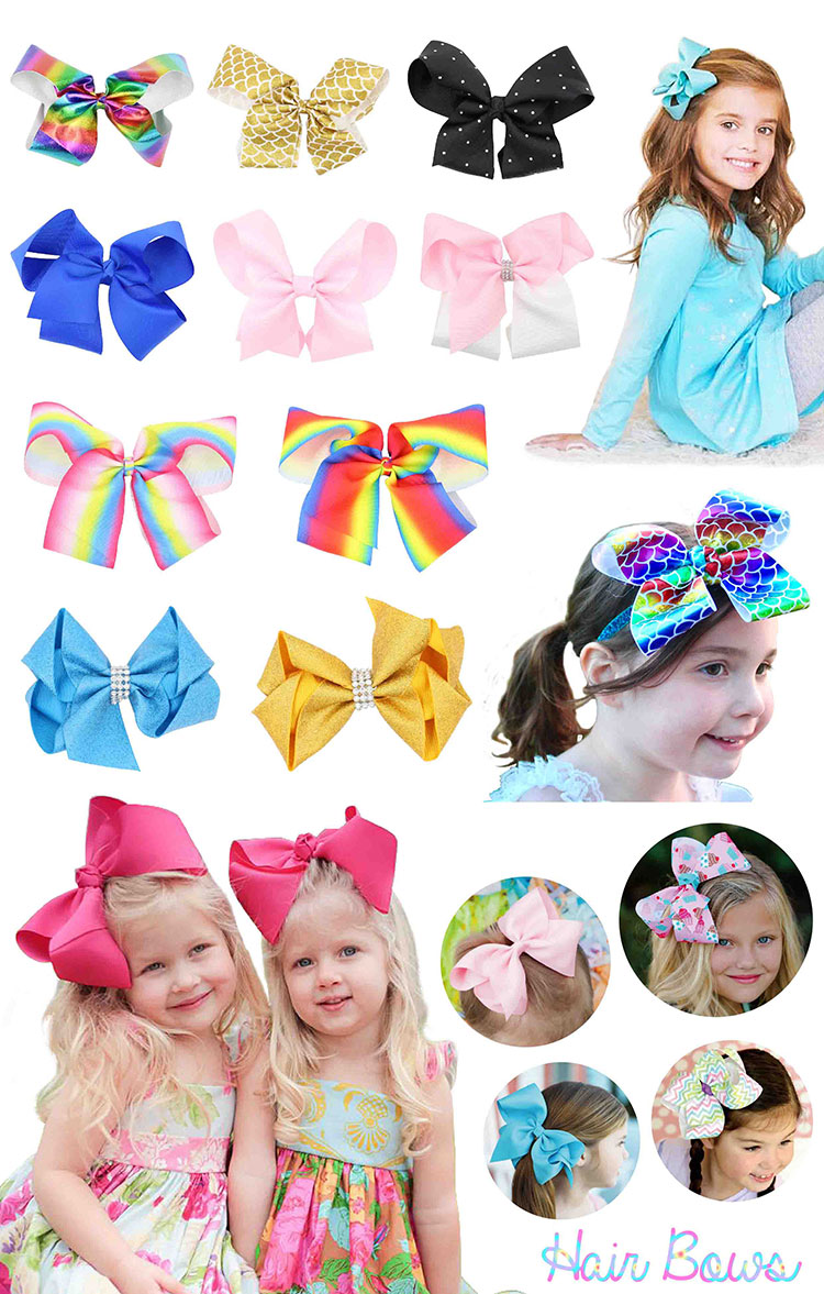 wholesale 6 inch rhinestone grosgrain ribbon sports fabric hair bows for girls