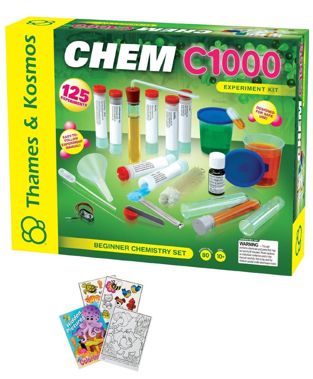 Thames & Kosmos 640118 Chemistry C1000 Science Experiment Set with Kids Coloring Book